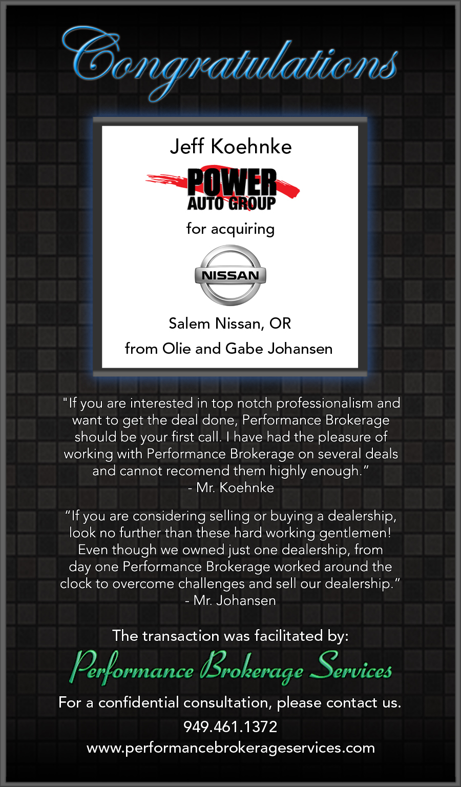 Power Auto Group >> Announcing The Sale Of Salem Nissan To Power Auto Group