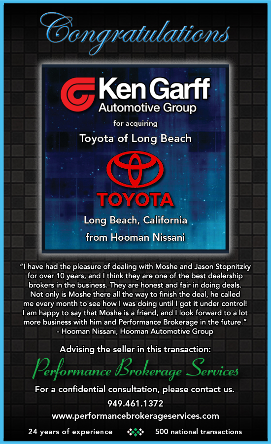 ken garff buys toyota of long beach california from hooman automotive group performance. Black Bedroom Furniture Sets. Home Design Ideas