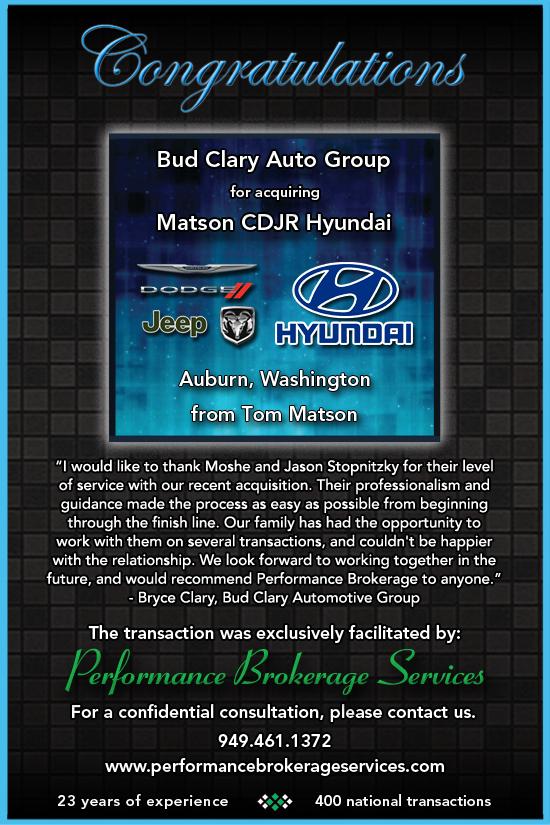 Bud Clary Auburn >> Tom Matson Sells Auburn Chrysler Dodge Jeep Ram and ...