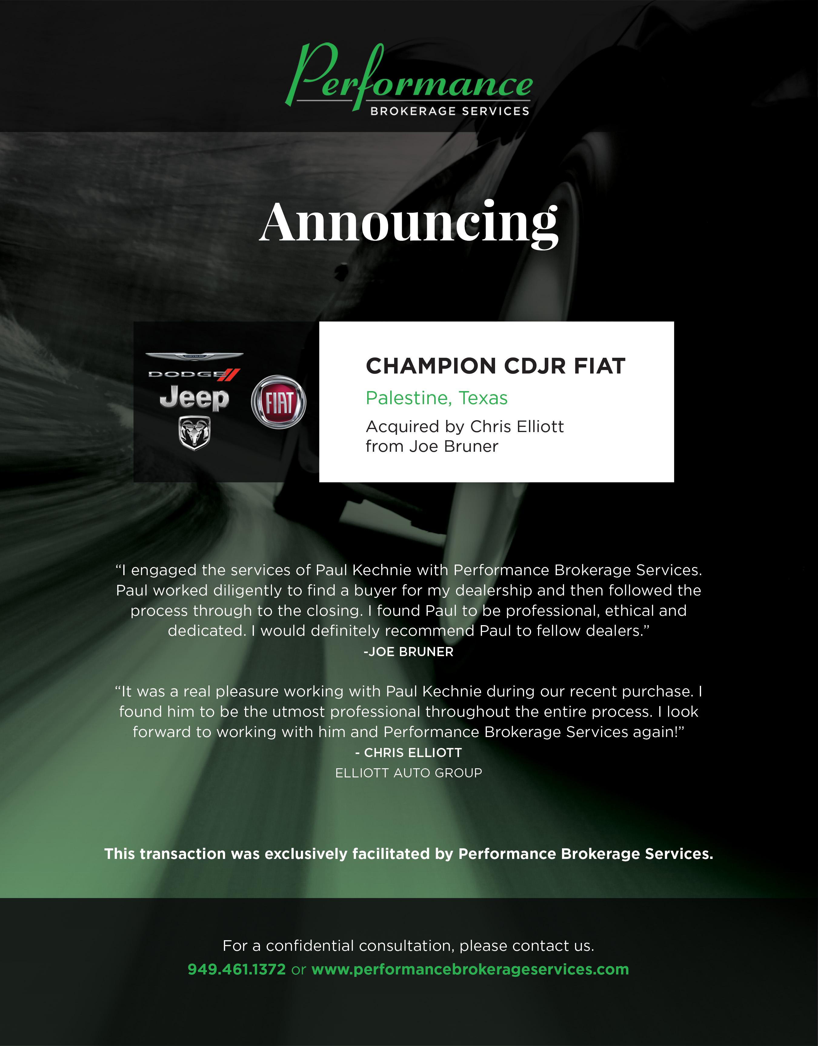 Joe Bruner Sells Champion CDJR Fiat Of Palestine Texas - Champion chrysler dodge jeep