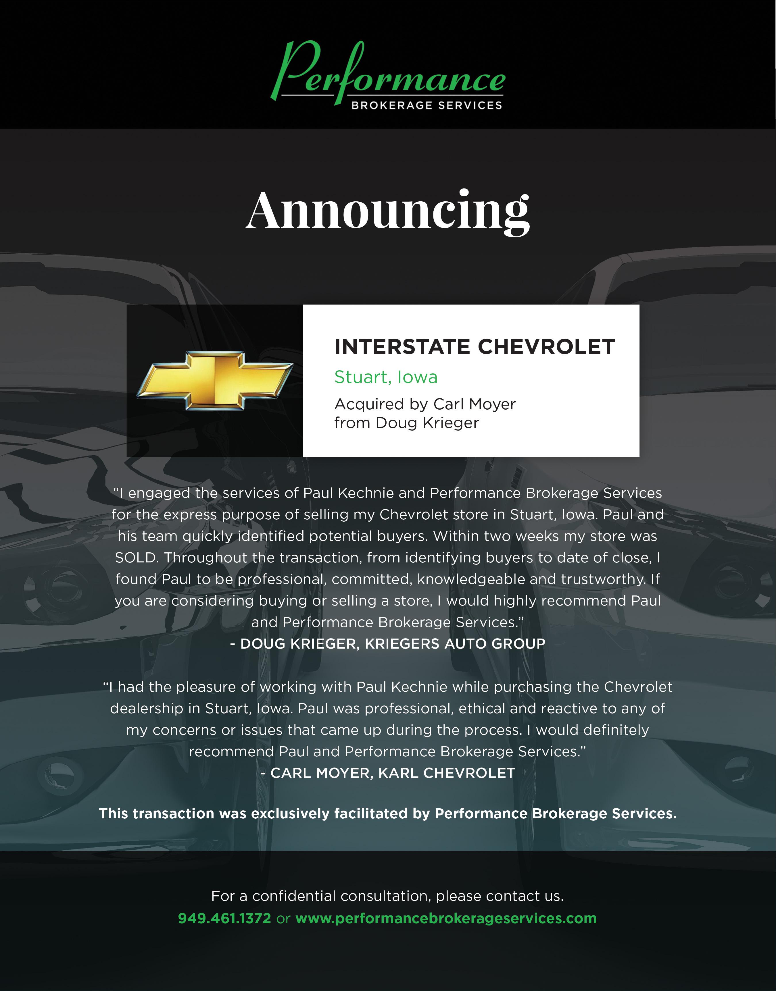 Doug Krieger Sells Interstate Chevrolet In Stuart Iowa Performance Brokerage Services