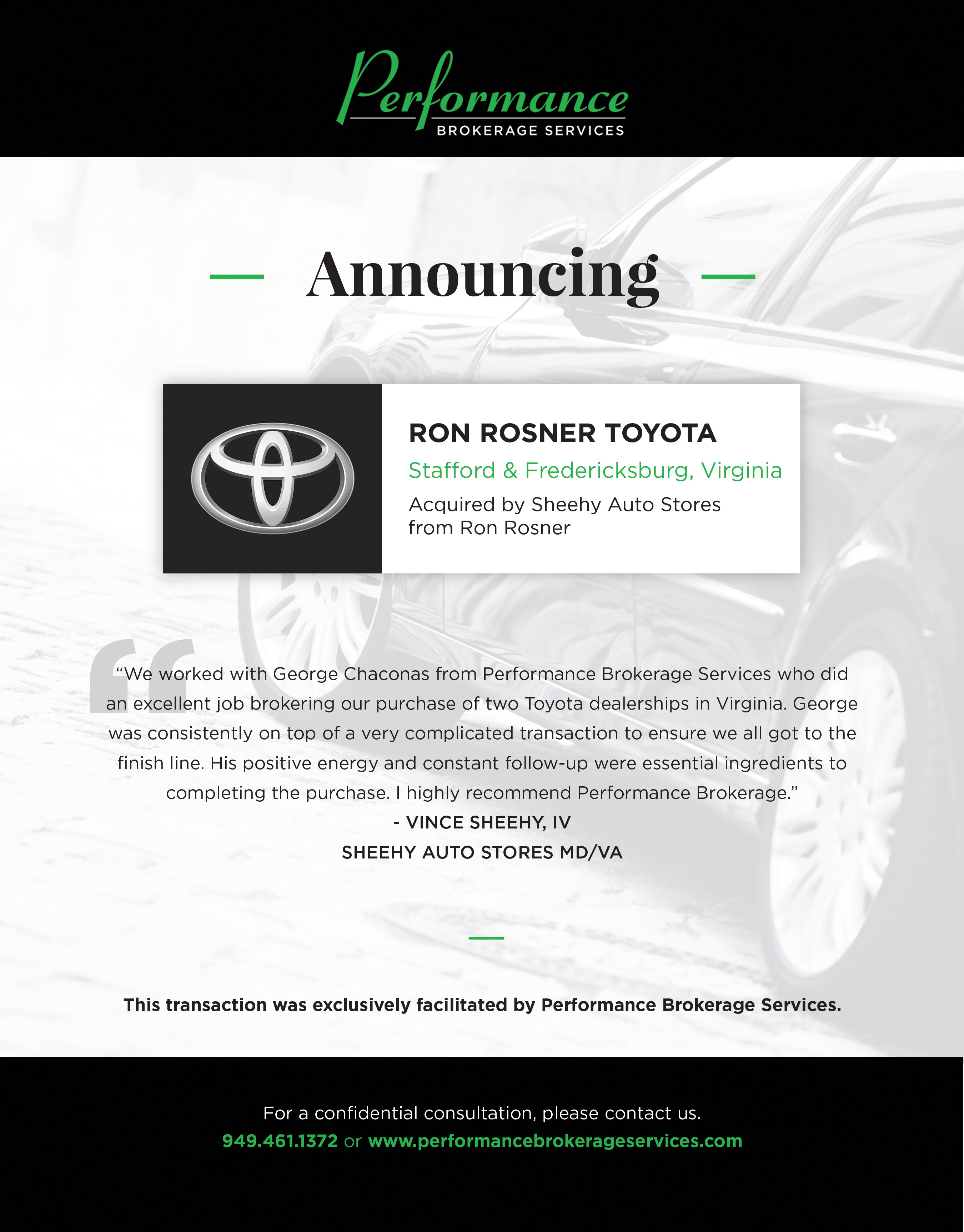 Charming Sheehy Auto Stores Buys 2 Toyota Dealerships From Ron Rosner