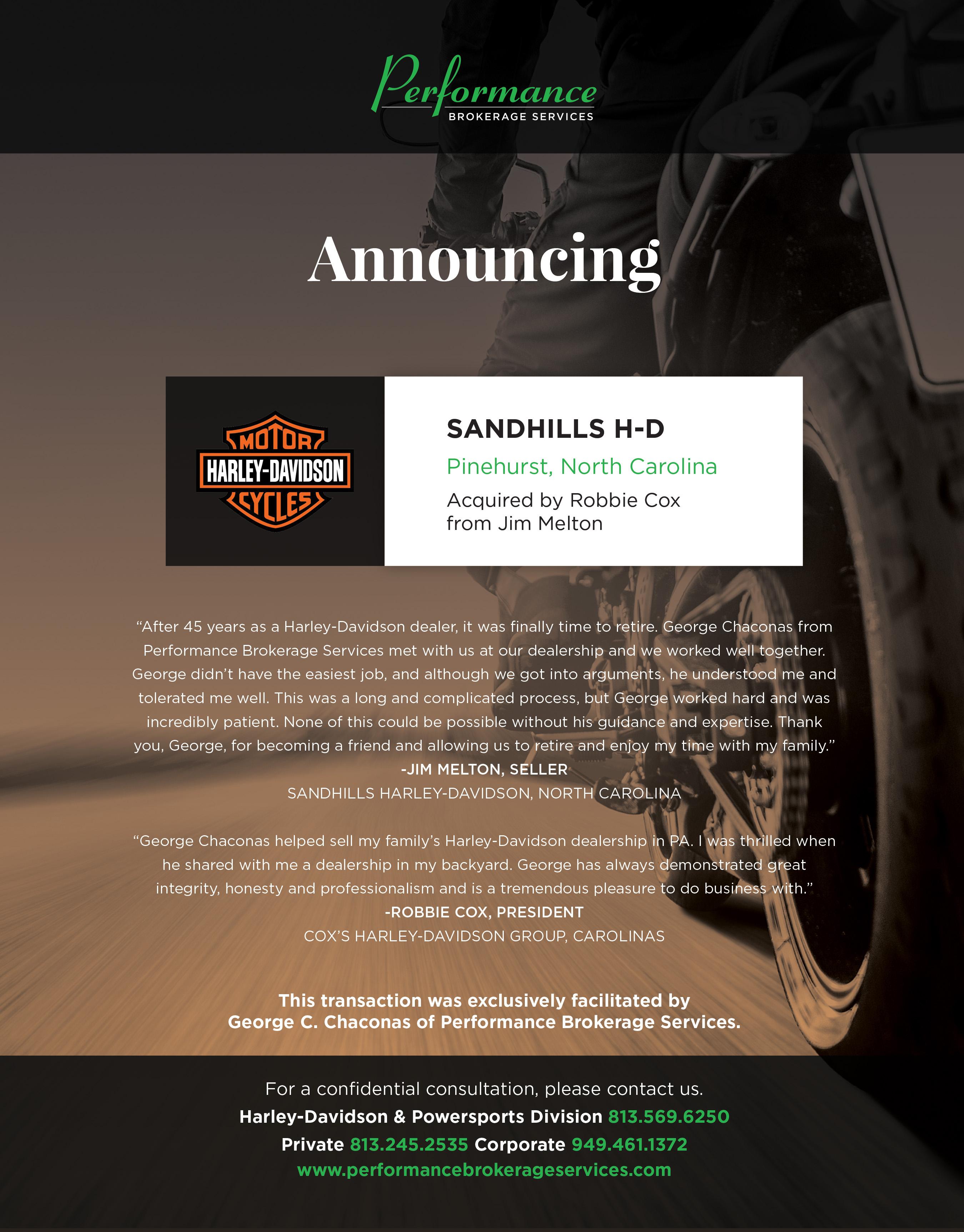 Jim Melton Sells Sandhills Harley-Davidson in Pinehurst