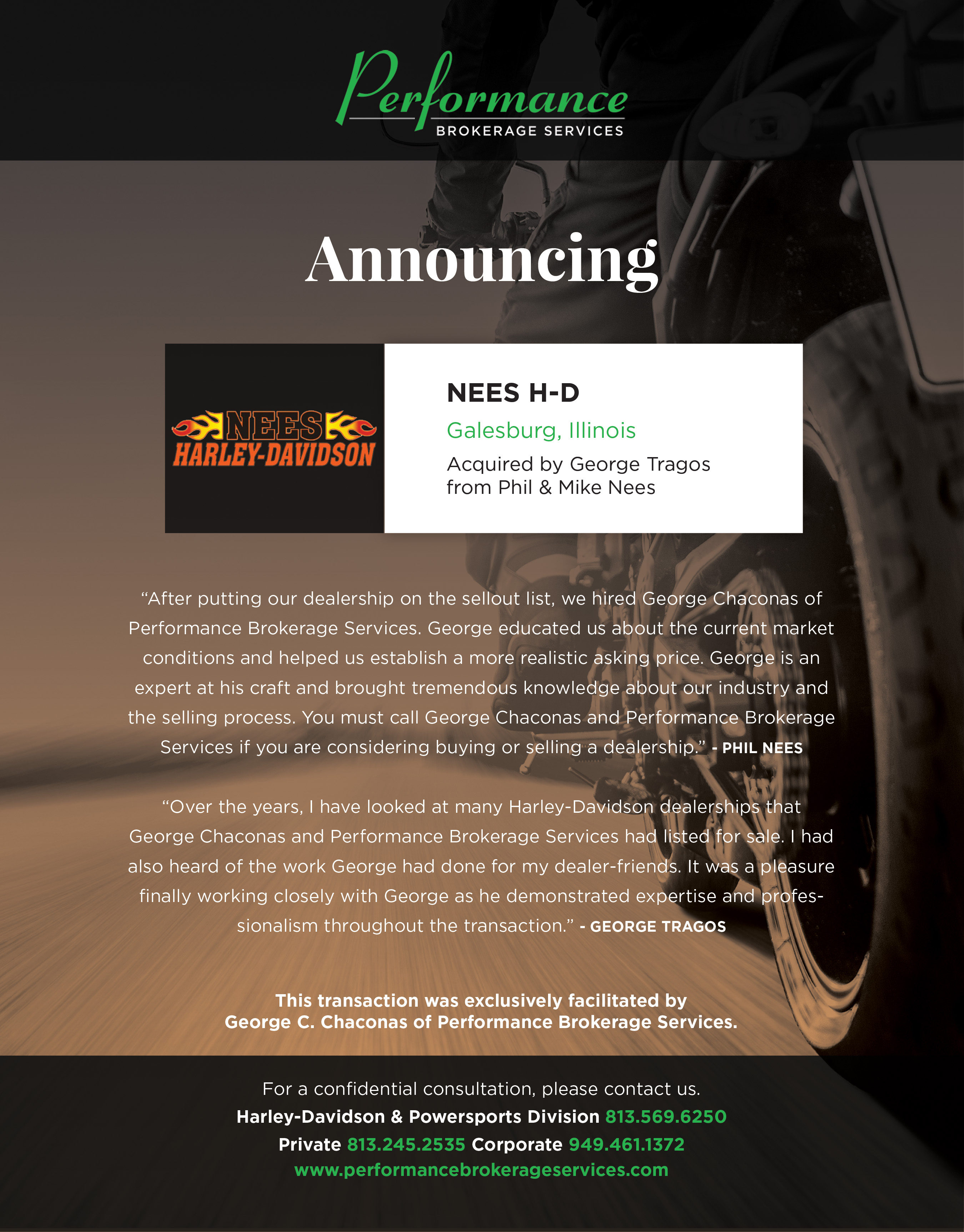 Nees Harley-Davidson in Galesburg, Illinois Sells to H-D Group ...