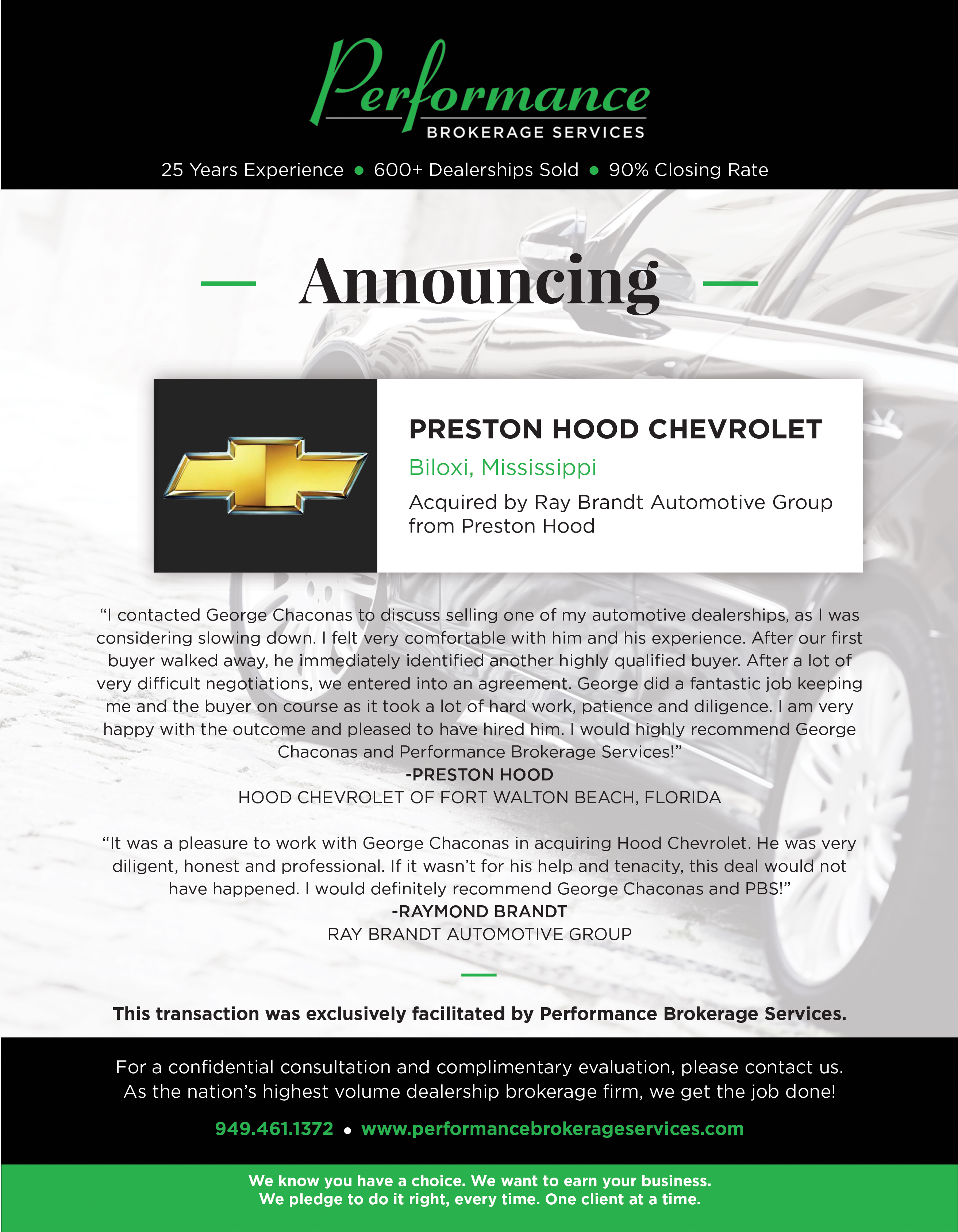 Ray Brandt Automotive Group Acquires Preston Hood Chevrolet