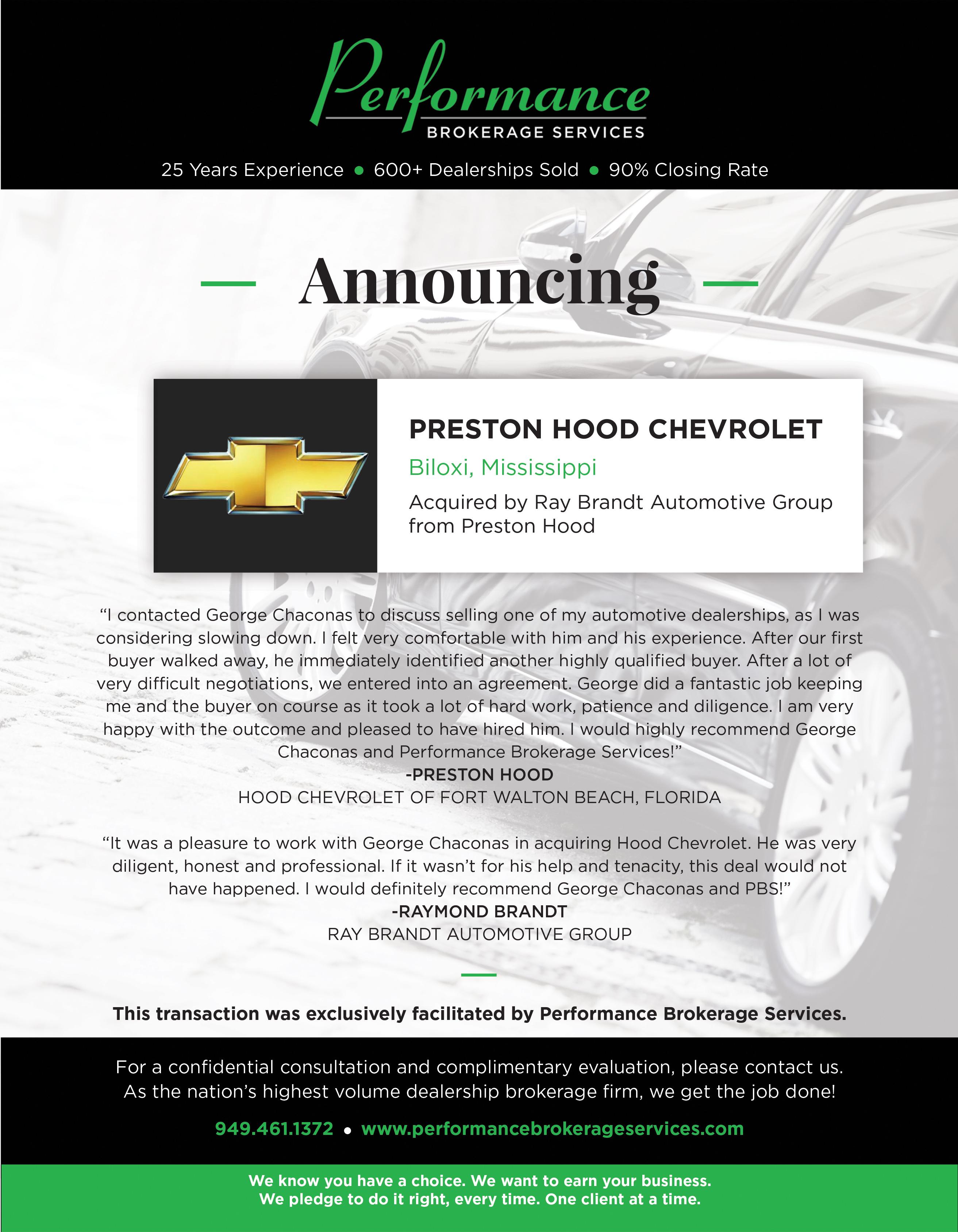Preston Hood Chevrolet >> Ray Brandt Automotive Group Acquires Preston Hood Chevrolet