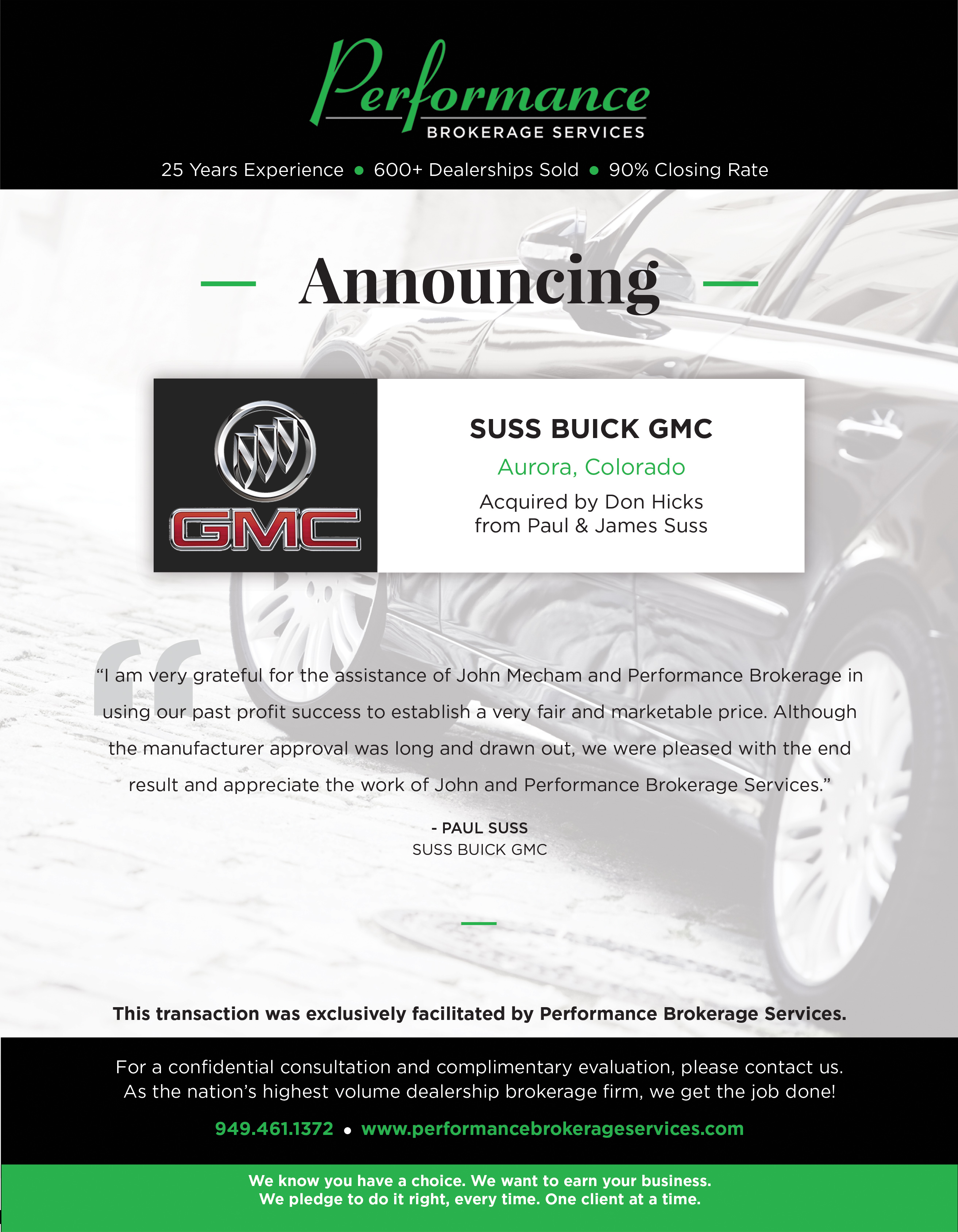 Suss Buick Gmc >> Suss Buick Gmc In Aurora Colorado Sells To Don Hicks
