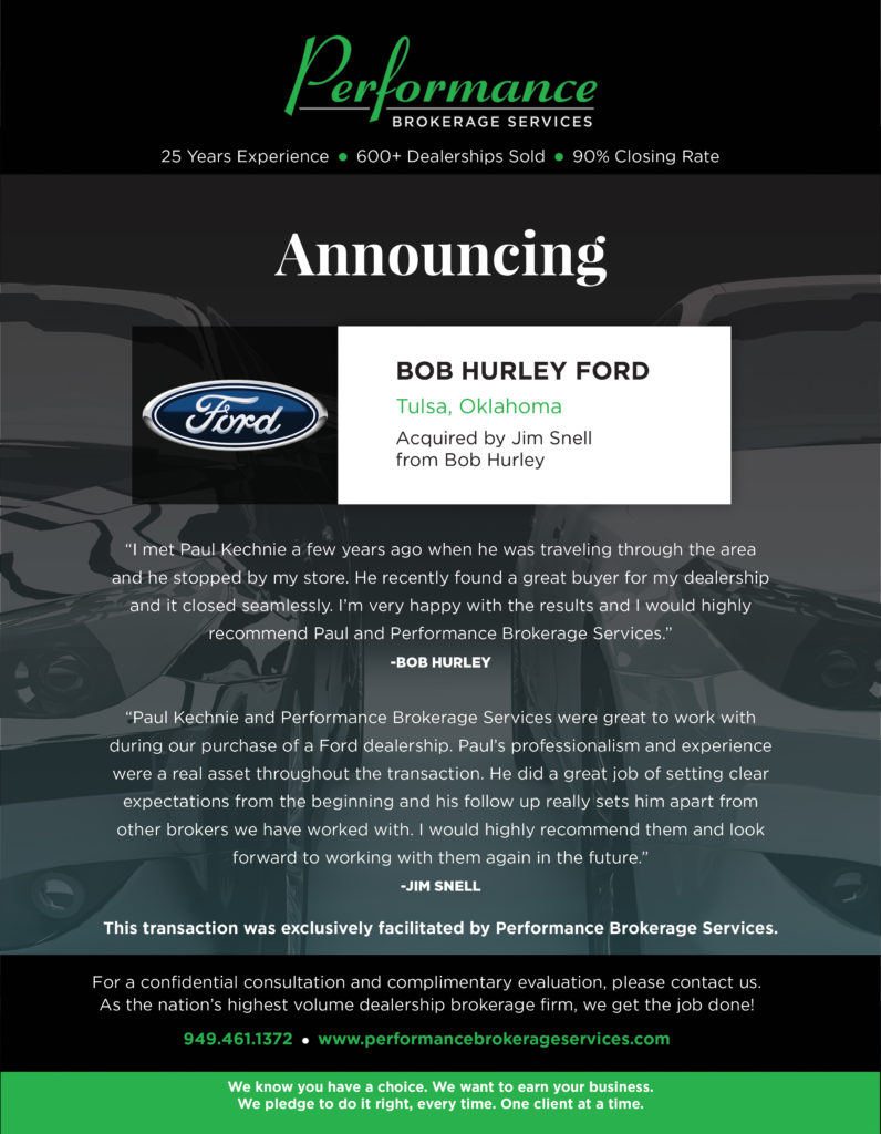 Bob Hurley Ford >> Bob Hurley Ford Of Tulsa Oklahoma Sells To Jim Snell
